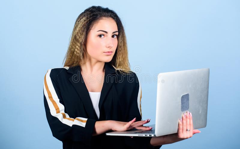 Software developer. Study programming. Blogging concept. Online remote job. Girl with laptop computer. Developer write royalty free stock photos