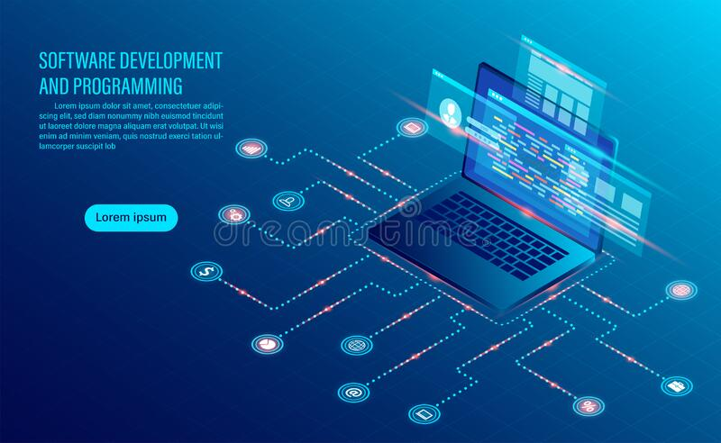 Software development coding and business analysis. Programming of concept. data processing. Computer code with window interface. flat isometric illustration stock illustration