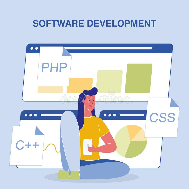 Software Development Color Vector Poster with Text stock illustration