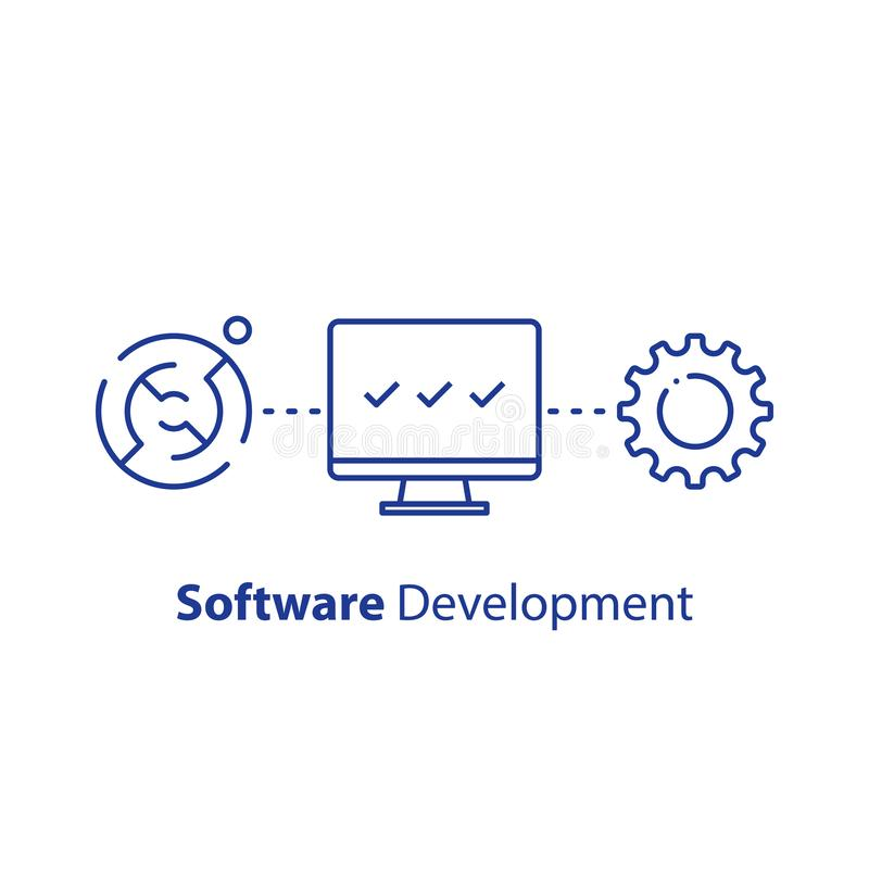 Encryption technology, system security upgrade, software development, machine learning, tech support and maintenance vector illustration