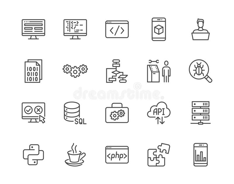 Software development flat line icons set. Programming language, application, api, computer program develop vector vector illustration