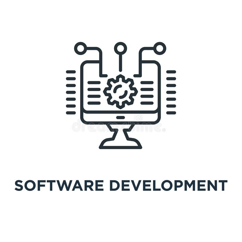 Software development icon. integration and automation concept sy. Mbol design, linear vector illustration vector illustration