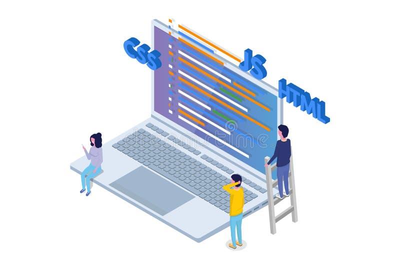 Software Development isometric, Programmer at work. stock illustration