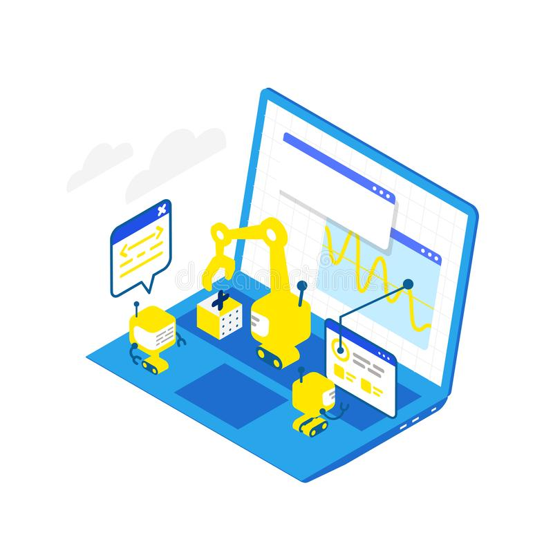 Software development levels. Technological conveyor. Programming and testing robots laptop. Isometric infographic. Blue stock illustration