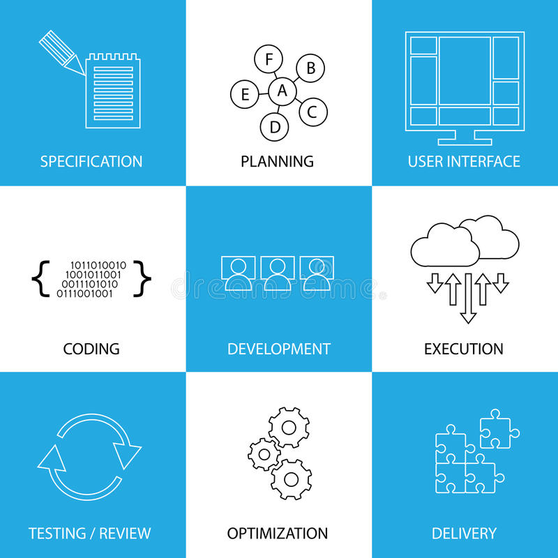 Software development life-cycle process - concept vector graphic royalty free illustration
