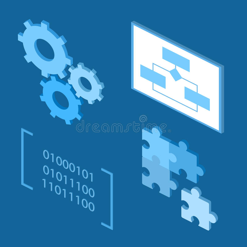 Software development life-cycle process icons. Flat icons vector illustration