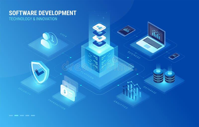 Software development process isometric infographics icons vector. Software development process isometric infographics icons. Software development digital royalty free illustration