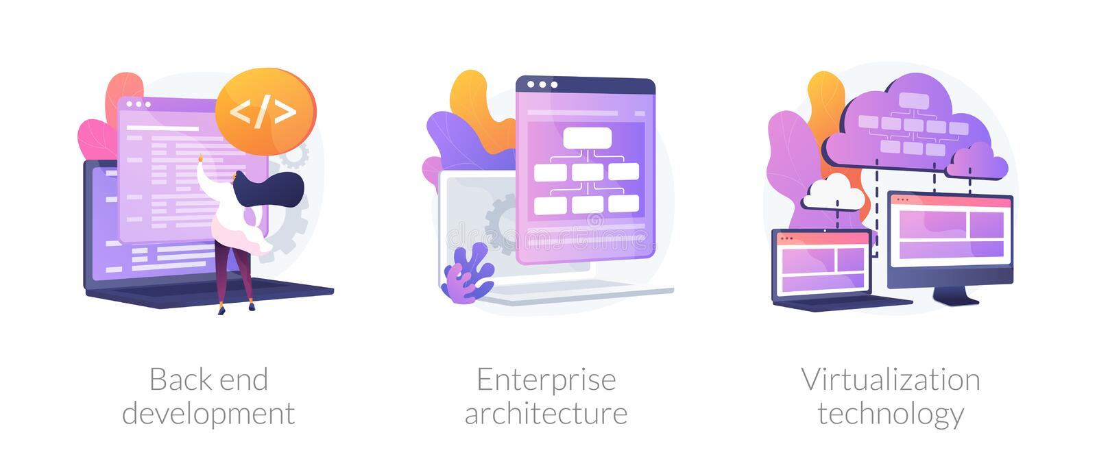 Software development process vector concept metaphors. Software engineering, franchise building, cloud computing icons set. Back end development, enterprise royalty free illustration