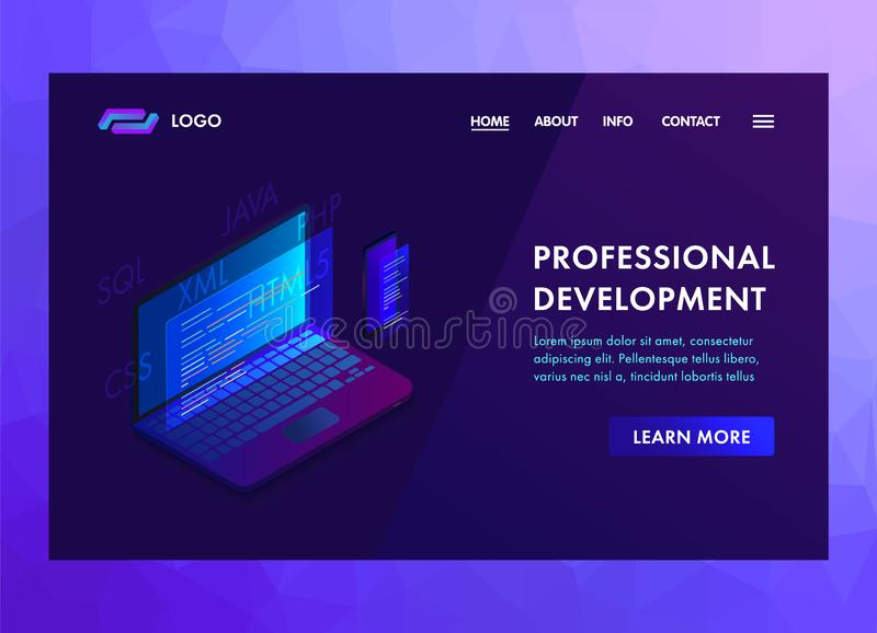 Development Software and programming vector concept with program code on laptop and phone screen. Computer smartphone in isometric. Software development and stock illustration
