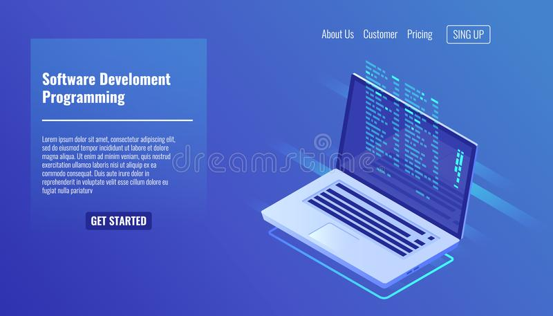 Software development and programming, program code on laptop screen, big data processing, computing isometric 3d. Software development and programming, program vector illustration
