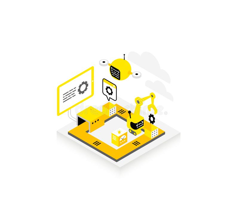 Software development. Technological conveyor icon. Programming testing robots and drones. Isometric infographic. Yellow stock illustration