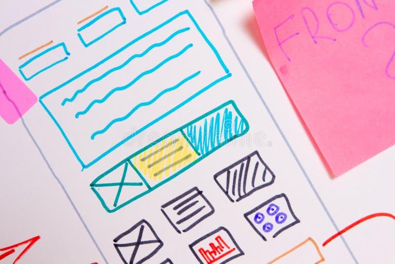 Software development. Ui Ux design app. Design mobile application on paper plan. Software development. Ui Ux design app stock photo