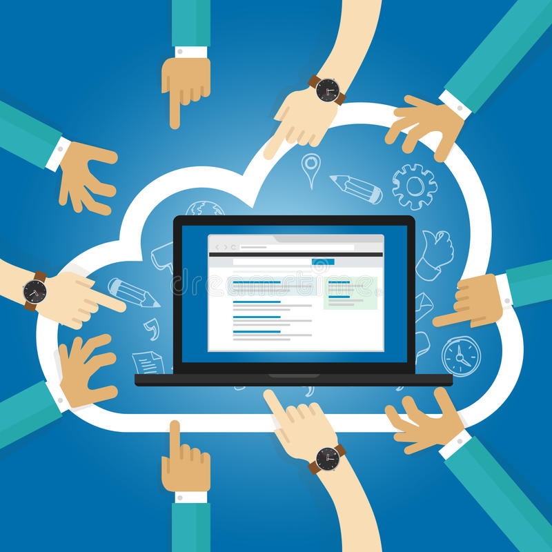 Software di SaaS come una base di sottoscrizione di Internet di accesso dell'applicazione della nuvola di servizio centralmente h illustrazione vettoriale