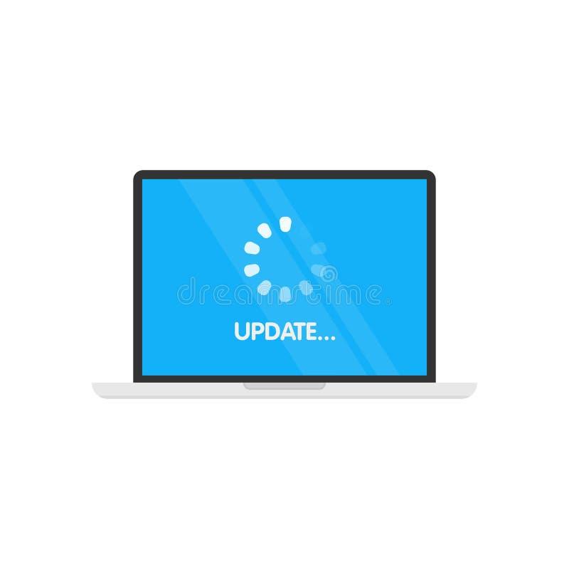Software di sistema dell'aggiornamento e concetto di aggiornamento Processo di caricamento in schermo del computer portatile Illu illustrazione di stock