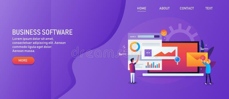 Software empresarial, gente que obra recíprocamente con la automatización de comercialización, analytics de los datos de negocio, stock de ilustración