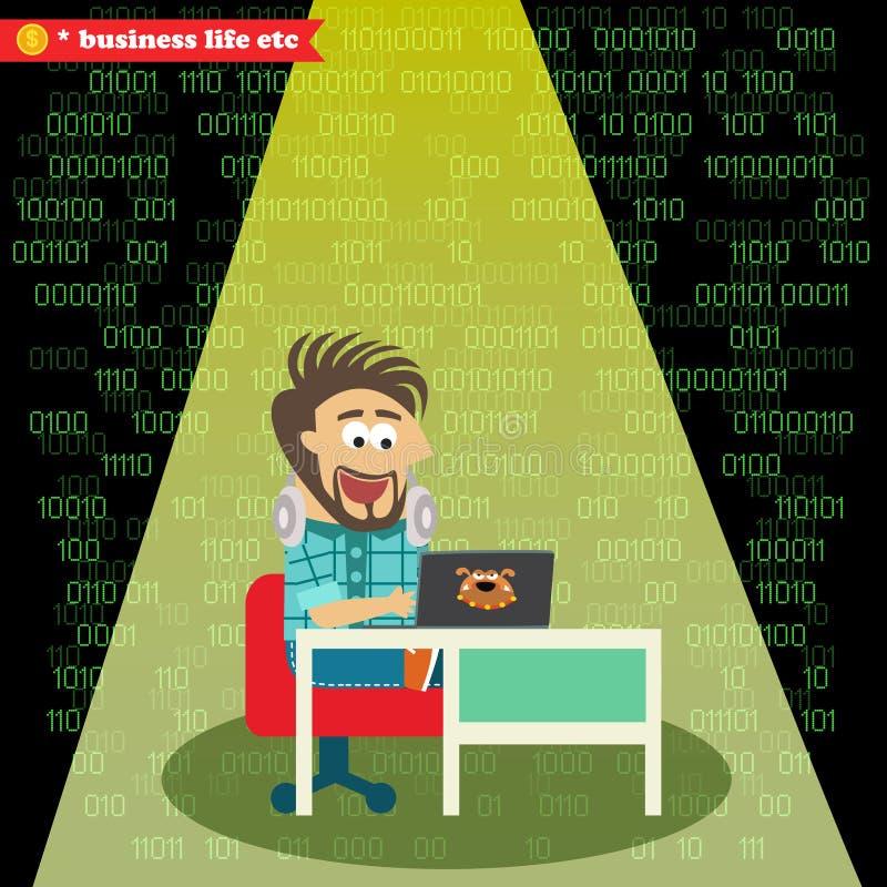 Software Engineer che lavora al suo taccuino royalty illustrazione gratis
