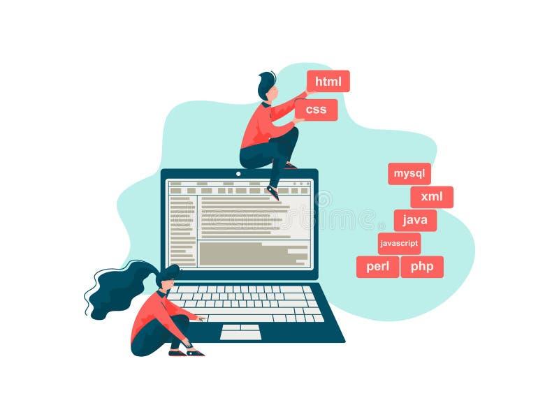 Software Engineer, programmatori che scrivono l'illustrazione di vettore di codice, di ingegneria e di programmazione illustrazione vettoriale