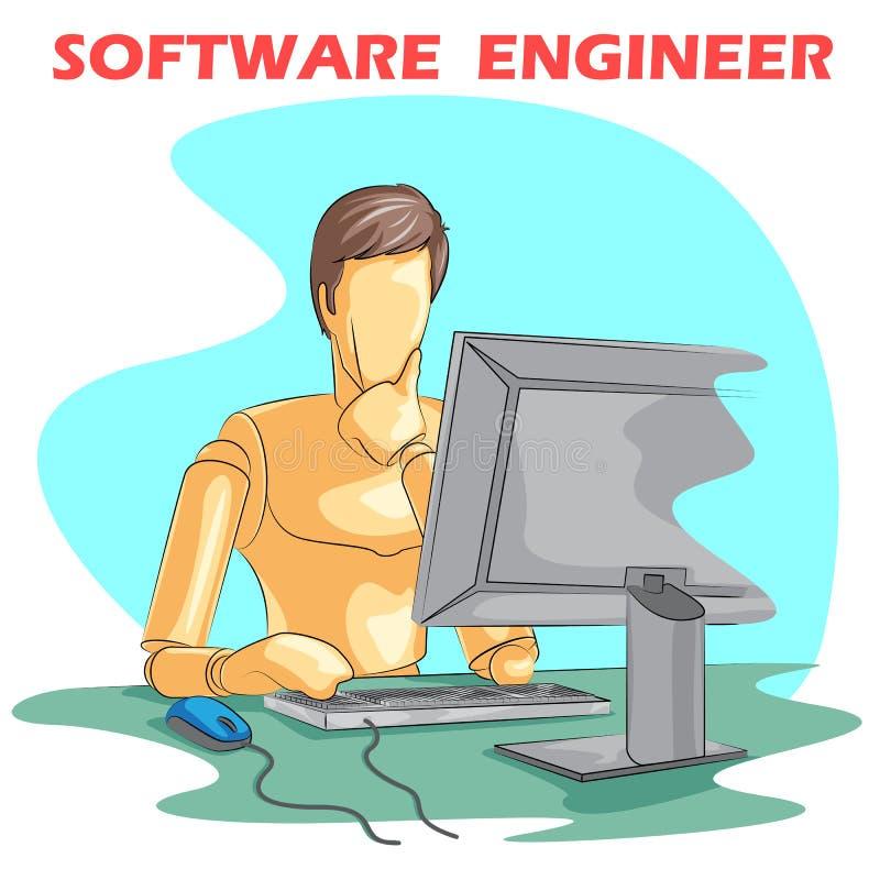 Software Engineer umana di legno del manichino royalty illustrazione gratis