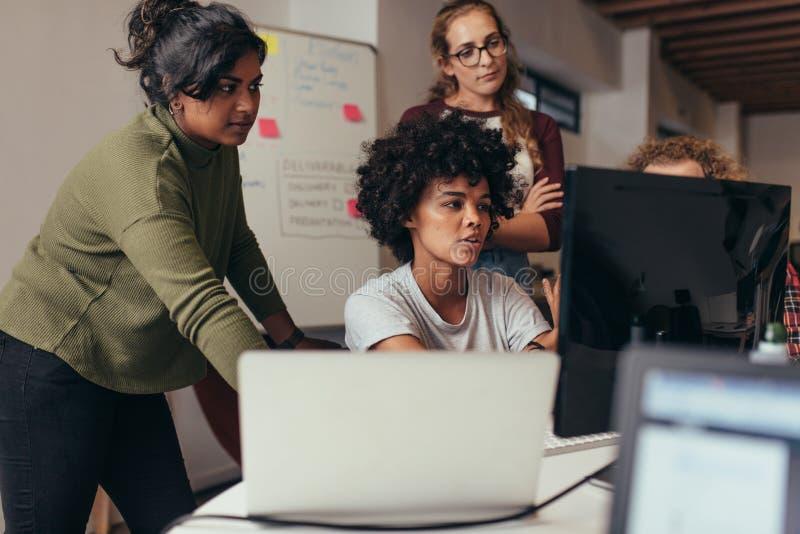 Software Engineers, die zusammen an Projekt arbeiten stockbild