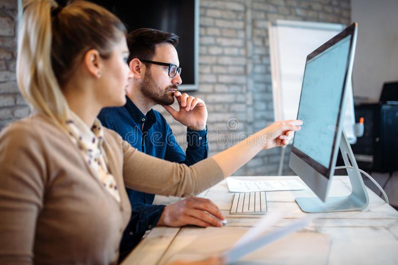 Software engineers working on project royalty free stock images
