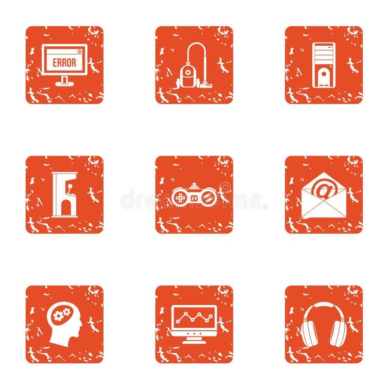 Software error icons set, grunge style. Software error icons set. Grunge set of 9 software error vector icons for web isolated on white background stock illustration