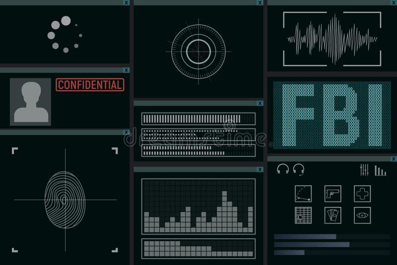 Software for the FBI. Monitor vector illustration. Detective intelligence vector illustration