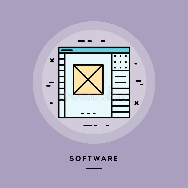 Software, flat design thin line banner. Vector illustration. stock illustration