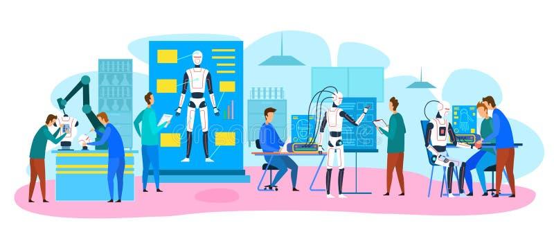 Software Hardware Engineers Test dei robot in laboratorio illustrazione vettoriale