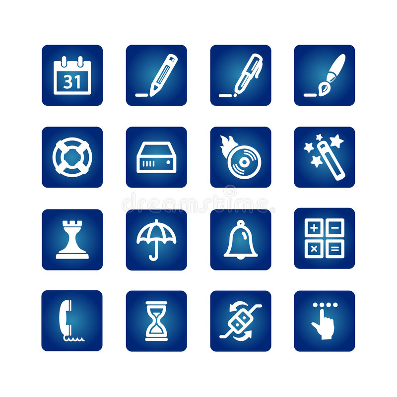 Software icons. On the blue background royalty free illustration