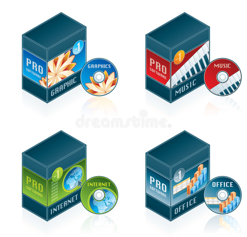 Software Icons Set 57 d. Computer Software Icons Set - Design Elements 57d, it's a high resolution image with CLIPPING PATH for easy remove unwanted shadows royalty free illustration