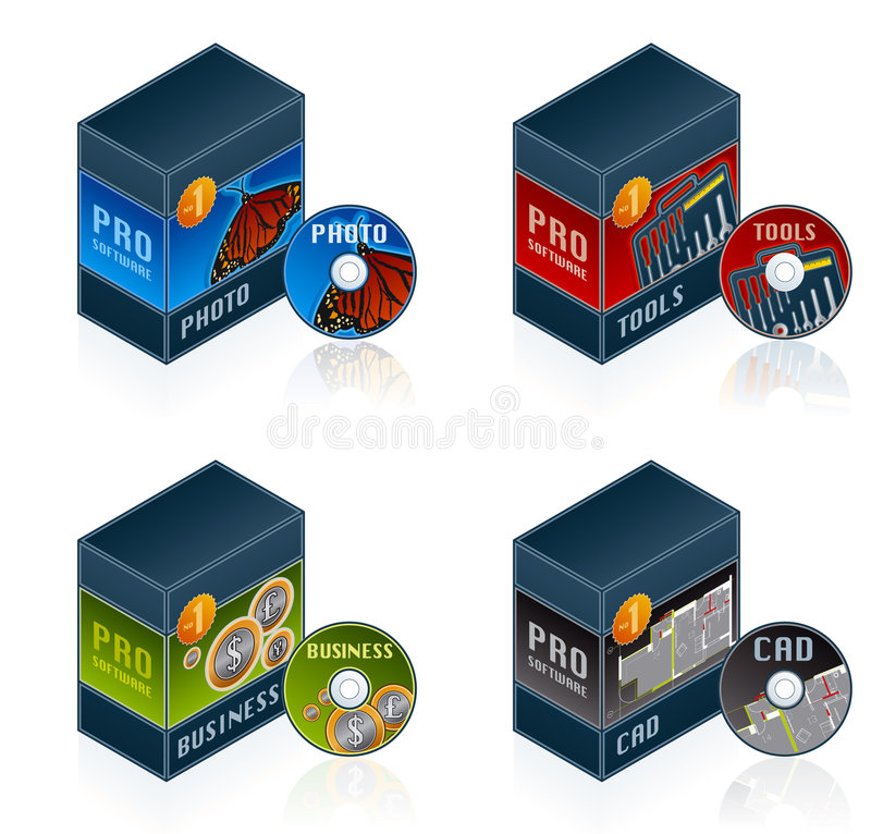 Software Icons Set 57 e. Computer Software Icons Set - Design Elements 57e, it's a high resolution image with CLIPPING PATH for easy remove unwanted shadows royalty free illustration
