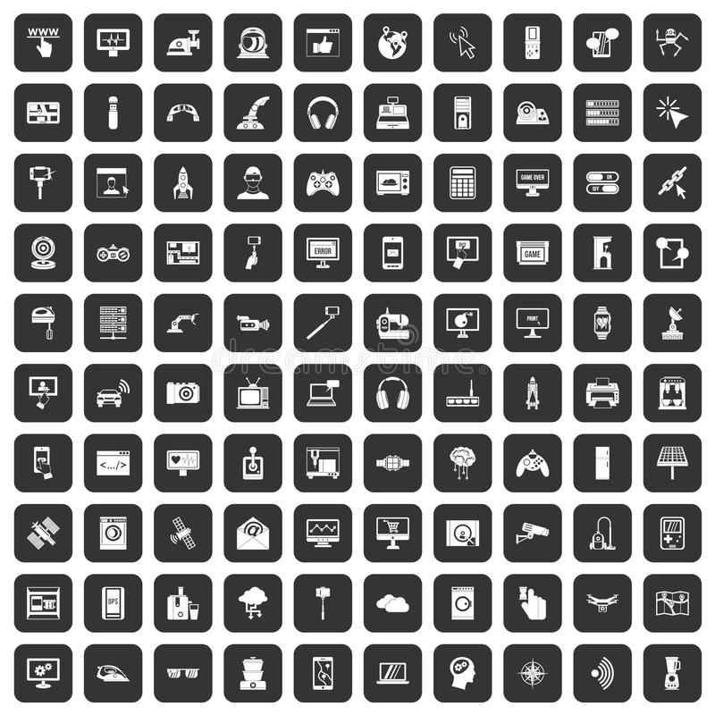 100 software icons set black. 100 software icons set in black color isolated vector illustration stock illustration
