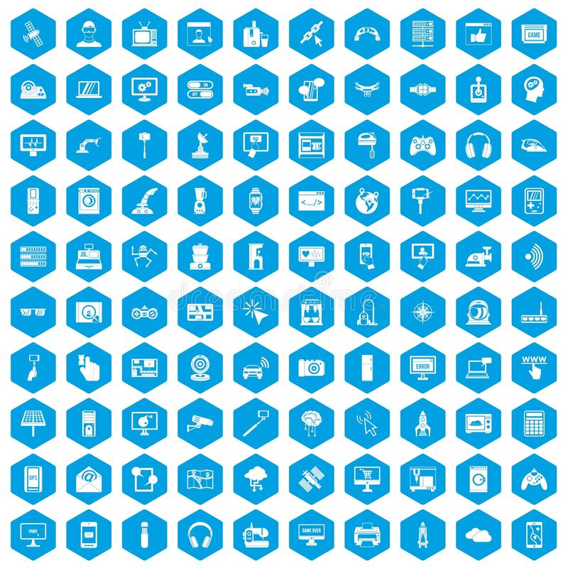 100 software icons set blue. 100 software icons set in blue hexagon isolated vector illustration vector illustration