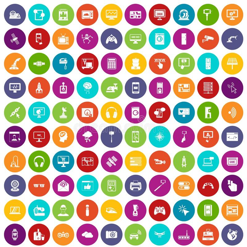 100 software icons set color. 100 software icons set in different colors circle isolated vector illustration royalty free illustration