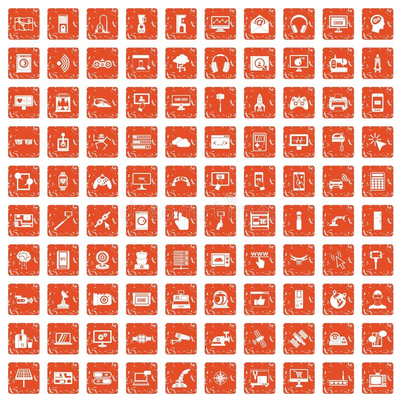 100 software icons set grunge orange. 100 software icons set in grunge style orange color isolated on white background vector illustration stock illustration