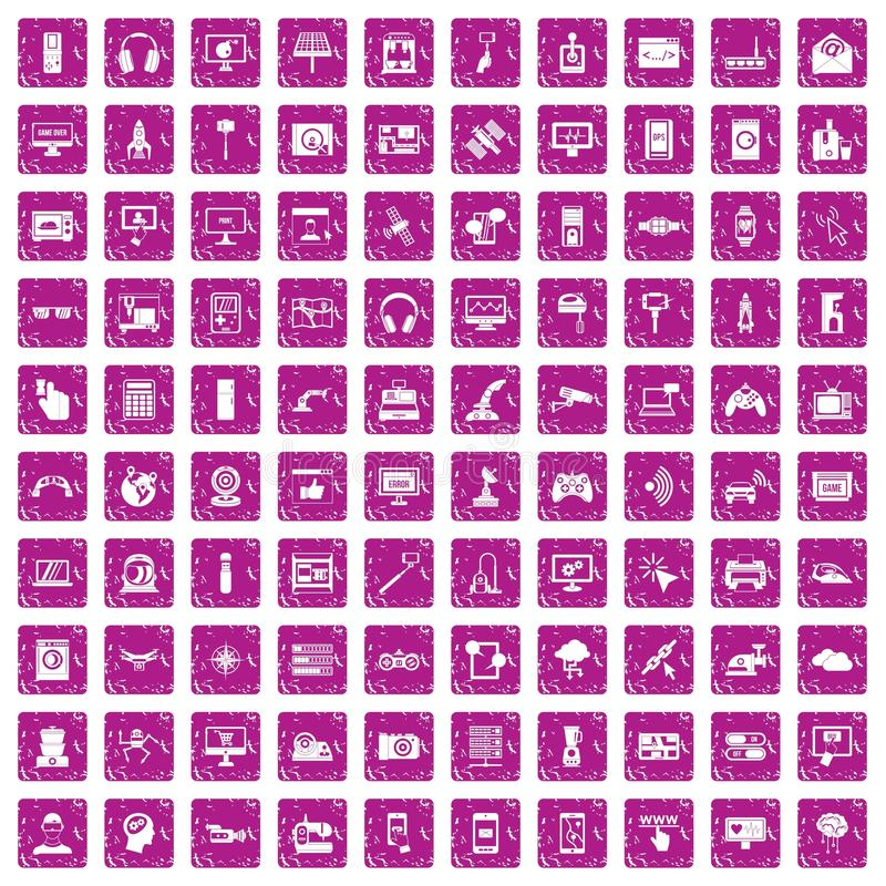 100 software icons set grunge pink. 100 software icons set in grunge style pink color isolated on white background vector illustration vector illustration