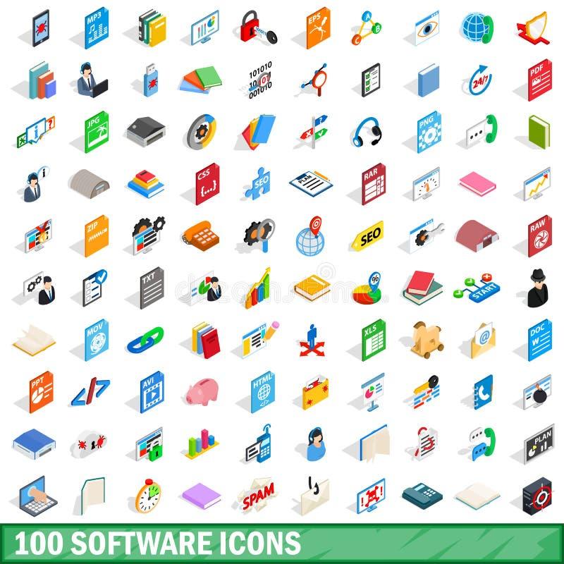 100 software icons set, isometric 3d style. 100 software icons set in isometric 3d style for any design vector illustration stock illustration