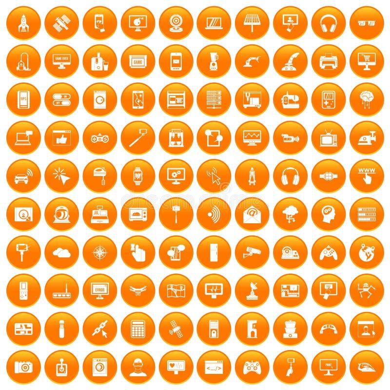 100 software icons set orange. 100 software icons set in orange circle isolated on white vector illustration stock illustration