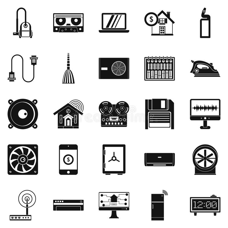 Software icons set, simple style. Software icons set. Simple set of 25 software vector icons for web isolated on white background royalty free illustration