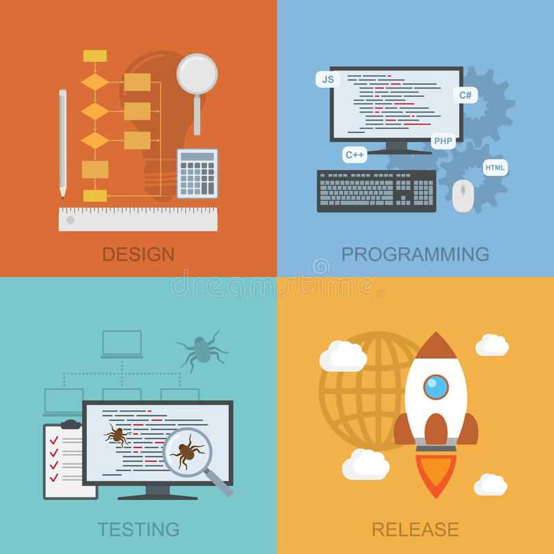 Software lifecycle stock illustration