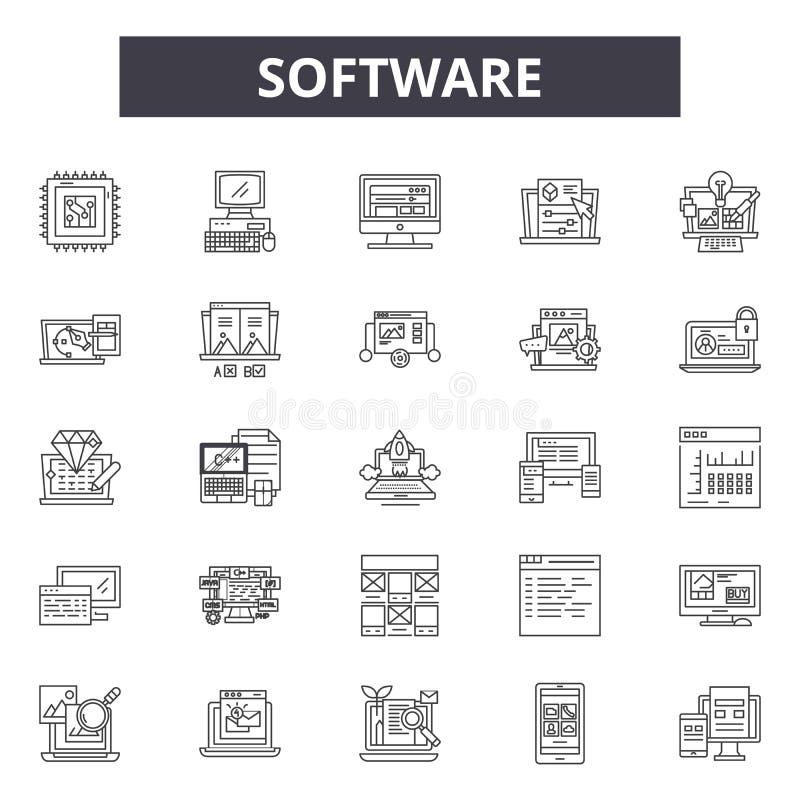 Software-Linie Ikonen, Zeichen, Vektorsatz, Entwurfsillustrationskonzept lizenzfreie abbildung