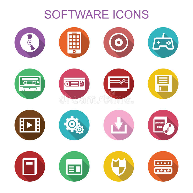 Software long shadow icons vector illustration