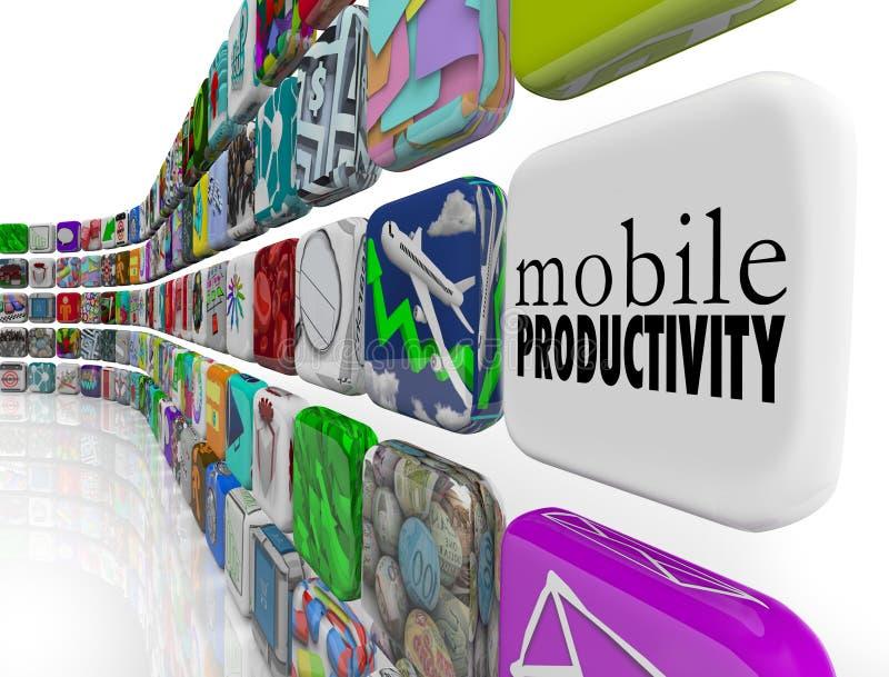 Software móvil de Apps de la productividad que trabaja remotamente en camino ilustración del vector