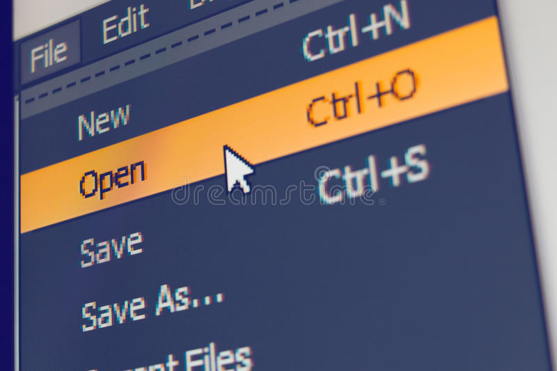 Software menu item with open command. Highlighted and mouse cursor selected it, macro shot stock photos