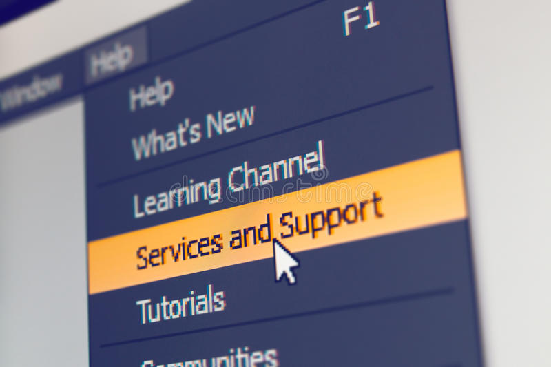Software menu item with support and service command. Highlighted and mouse cursor selected it stock photography