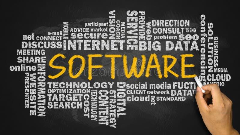 Software met verwante woordwolk stock afbeelding