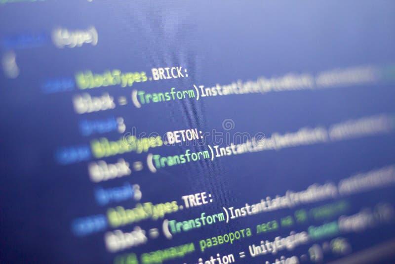 Software-ontwikkeling c-Scherp C, NETTO code dichte omhooggaand Macro van het scherm dat van de spelontwikkelaar wordt geschoten stock afbeeldingen