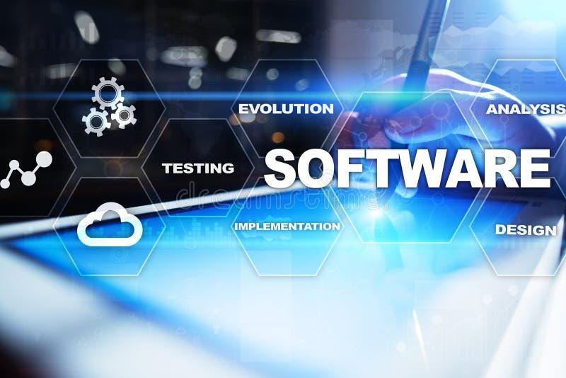 Software-ontwikkeling Concept van de het Systeemtechnologie van gegevens het Digitale Programma's stock fotografie