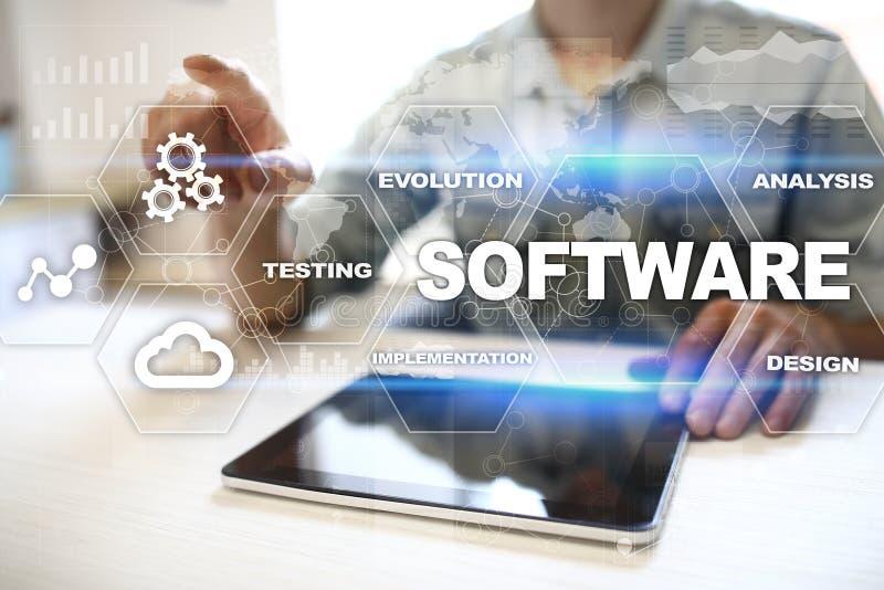 Software-ontwikkeling Concept van de het Systeemtechnologie van gegevens het Digitale Programma's royalty-vrije stock afbeeldingen