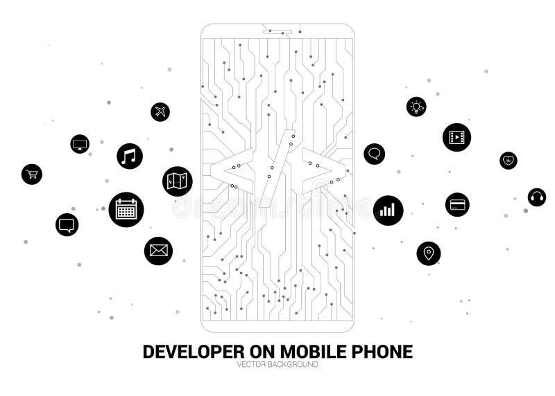 Software-ontwikkeling de gevormde mobiele telefoon van de programmeringsmarkering pictogram met grafische kringslijn stock illustratie